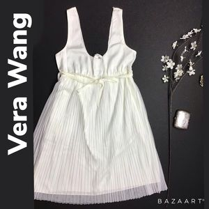 Vera Wang Off White Tulle Pleated Dress Size S